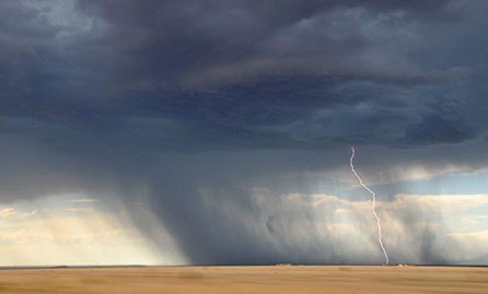 Dramatic view of thunderstorm