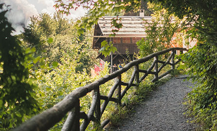 Rustic walkway to a cottage in the rural countryside